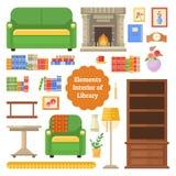 Elementi della biblioteca o del gabinetto interna Fotografia Stock