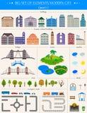 Elementi della città moderna su fondo bianco - azione Fotografie Stock Libere da Diritti