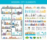Elementi della città o del villaggio moderna - azione Immagine Stock