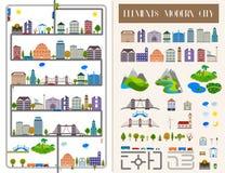 Elementi della città o del villaggio moderna - azione Fotografie Stock