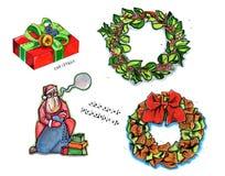 Elementi della decorazione di inverno, disegnati a mano Fotografia Stock