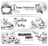 Elementi della decorazione di schizzo della matita di Halloween illustrazione vettoriale
