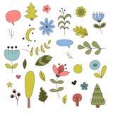 Elementi della foresta nello stile del fumetto Illustrazione di vettore Fotografia Stock