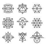 Elementi della geometria ed insieme di simboli sacri dei pantaloni a vita bassa Vettore Fotografia Stock