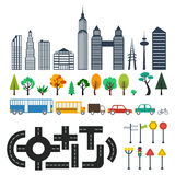Elementi della mappa della città Fotografia Stock Libera da Diritti