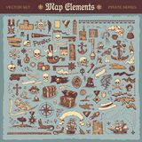 Elementi della mappa ed elementi del pirata royalty illustrazione gratis