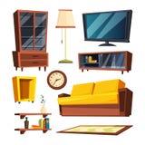 Elementi della mobilia del salone Illustrazioni di vettore nello stile del fumetto Immagini Stock