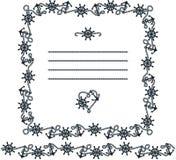 Elementi della pagina, del confine e di progettazione nello stile marino Immagine Stock