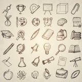 Elementi della scuola del disegno a mano libera Immagine Stock