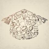 Elementi della scuola del disegno a mano libera Fotografia Stock