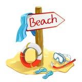 Elementi della spiaggia con il puntatore Fotografia Stock