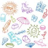 Elementi della spiaggia di estate Immagini Stock