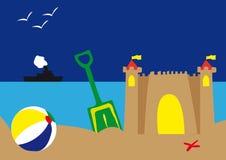 Elementi della spiaggia di estate Fotografia Stock Libera da Diritti