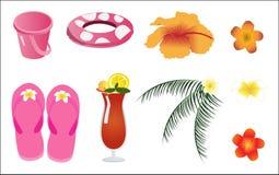 Elementi della spiaggia di estate di vettore Immagini Stock Libere da Diritti