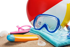 Elementi della spiaggia isolati su un bianco Fotografia Stock