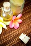 Elementi della stazione termale e fiori tropicali Fotografia Stock