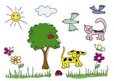 Elementi delle illustrazioni dei bambini Immagini Stock Libere da Diritti