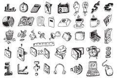 Elementi di affari di tiraggio della mano Fotografie Stock Libere da Diritti