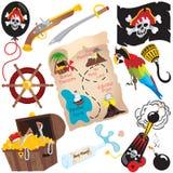 Elementi di arte di clip della festa di compleanno del pirata Fotografie Stock