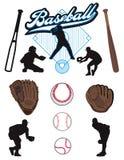 Elementi di baseball Fotografie Stock Libere da Diritti