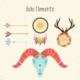 Elementi di Boho Vector l'insieme etnico con le frecce ed il cranio delle pecore Immagini Stock Libere da Diritti