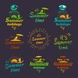 Elementi di calligrafia di progettazione di vacanze estive Insieme di vettore Fotografie Stock