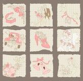 Elementi di carta di disegno di cerimonia nuziale e di amore Fotografie Stock Libere da Diritti