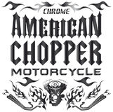 Elementi di Chopper Motorcycle - iscrizione Fotografia Stock Libera da Diritti