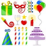 Elementi di compleanno Immagine Stock