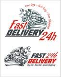 Elementi di consegna Segni grigi e rossi di trasporto Fotografia Stock Libera da Diritti