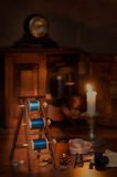 Elementi di cucito antichi Fotografia Stock Libera da Diritti
