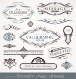 Elementi di disegno & decorazione calligrafici della pagina Fotografia Stock Libera da Diritti