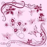 Elementi di disegno con le farfalle Fotografia Stock