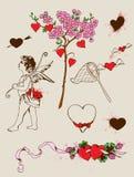 Elementi di disegno dei biglietti di S. Valentino Fotografia Stock Libera da Diritti