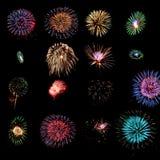 Elementi di disegno dei fuochi d'artificio Fotografia Stock Libera da Diritti