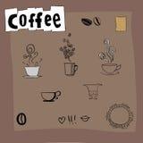 Elementi di disegno del caffè Fotografia Stock Libera da Diritti