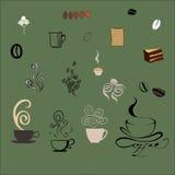Elementi di disegno del caffè Fotografie Stock Libere da Diritti