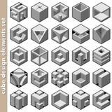 Elementi di disegno del cubo illustrazione di stock