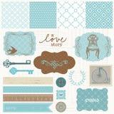 Elementi di disegno dell'album - insieme di amore dell'annata illustrazione di stock