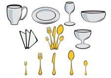 Elementi di disegno dell'articolo da cucina Fotografia Stock Libera da Diritti