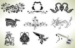Elementi di disegno dell'istantaneo del tatuaggio Fotografie Stock Libere da Diritti