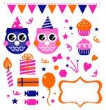 Elementi di disegno della festa di compleanno del gufo Immagine Stock