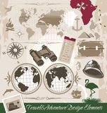 Elementi di disegno di avventura e di viaggio Immagine Stock