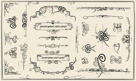 Elementi di disegno di doodle di calligrafia Fotografia Stock Libera da Diritti