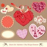 Elementi di disegno di giorno dei biglietti di S. Valentino Immagini Stock Libere da Diritti