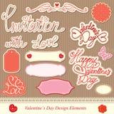 Elementi di disegno di giorno dei biglietti di S. Valentino Fotografia Stock