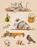 Elementi di disegno di Halloween Immagini Stock Libere da Diritti