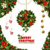 Elementi di disegno di Natale da agrifoglio e dal vischio Immagine Stock Libera da Diritti