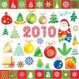 Elementi di disegno di nuovo anno Fotografie Stock Libere da Diritti