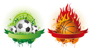 elementi di disegno di pallacanestro e di calcio Fotografie Stock Libere da Diritti